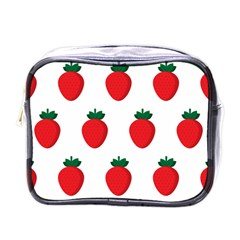 Fruit Strawberries Red Green Mini Toiletries Bags by Mariart