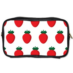 Fruit Strawberries Red Green Toiletries Bags 2 Side by Mariart