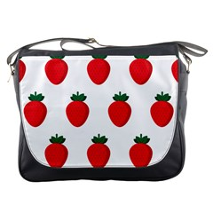Fruit Strawberries Red Green Messenger Bags by Mariart