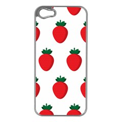 Fruit Strawberries Red Green Apple Iphone 5 Case (silver) by Mariart