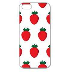 Fruit Strawberries Red Green Apple Seamless Iphone 5 Case (clear) by Mariart