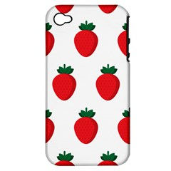 Fruit Strawberries Red Green Apple Iphone 4/4s Hardshell Case (pc+silicone) by Mariart