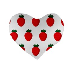 Fruit Strawberries Red Green Standard 16  Premium Heart Shape Cushions by Mariart