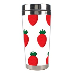 Fruit Strawberries Red Green Stainless Steel Travel Tumblers by Mariart
