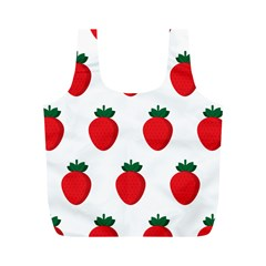 Fruit Strawberries Red Green Full Print Recycle Bags (m)  by Mariart