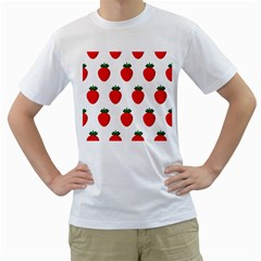 Fruit Strawberries Red Green Men s T-shirt (white)  by Mariart