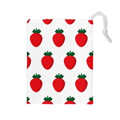 Fruit Strawberries Red Green Drawstring Pouches (large)  by Mariart