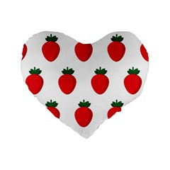 Fruit Strawberries Red Green Standard 16  Premium Flano Heart Shape Cushions by Mariart