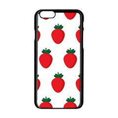 Fruit Strawberries Red Green Apple Iphone 6/6s Black Enamel Case by Mariart