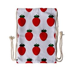 Fruit Strawberries Red Green Drawstring Bag (small) by Mariart
