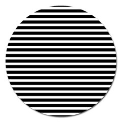 Horizontal Stripes Black Magnet 5  (round) by Mariart