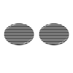 Horizontal Stripes Black Cufflinks (oval) by Mariart
