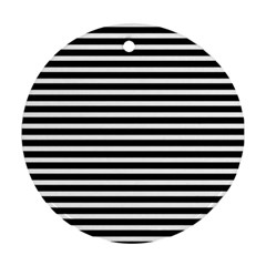 Horizontal Stripes Black Round Ornament (two Sides) by Mariart