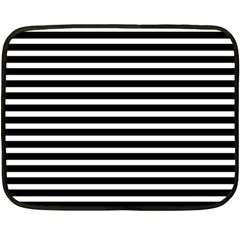 Horizontal Stripes Black Double Sided Fleece Blanket (mini)  by Mariart
