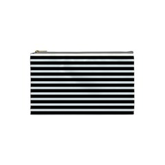 Horizontal Stripes Black Cosmetic Bag (small)  by Mariart