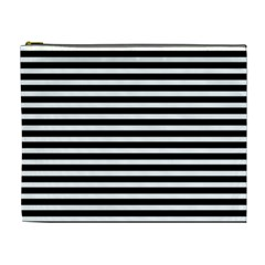 Horizontal Stripes Black Cosmetic Bag (xl) by Mariart