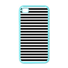 Horizontal Stripes Black Apple Iphone 4 Case (color) by Mariart