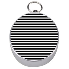 Horizontal Stripes Black Silver Compasses by Mariart