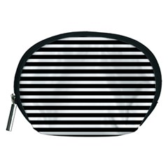 Horizontal Stripes Black Accessory Pouches (medium)  by Mariart