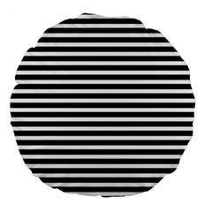 Horizontal Stripes Black Large 18  Premium Flano Round Cushions by Mariart
