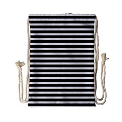 Horizontal Stripes Black Drawstring Bag (small) by Mariart