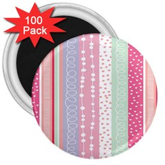 Heart Love Valentine Polka Dot Pink Blue Grey Purple Red 3  Magnets (100 Pack) by Mariart