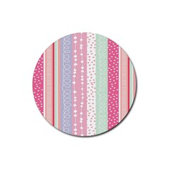 Heart Love Valentine Polka Dot Pink Blue Grey Purple Red Rubber Round Coaster (4 Pack)  by Mariart