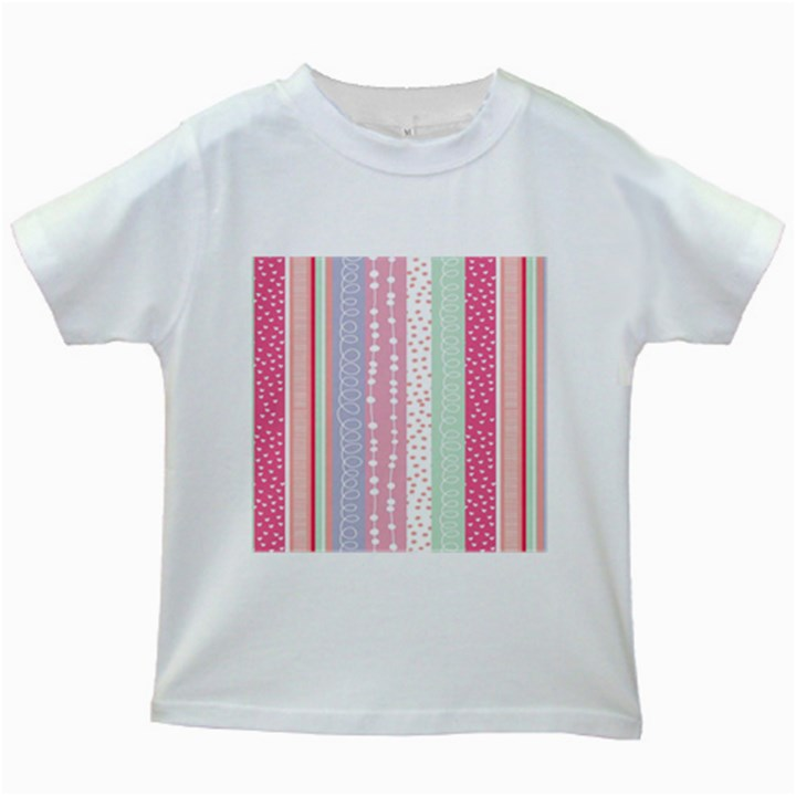 Heart Love Valentine Polka Dot Pink Blue Grey Purple Red Kids White T-Shirts