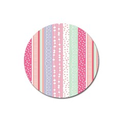 Heart Love Valentine Polka Dot Pink Blue Grey Purple Red Magnet 3  (round) by Mariart