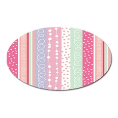 Heart Love Valentine Polka Dot Pink Blue Grey Purple Red Oval Magnet by Mariart