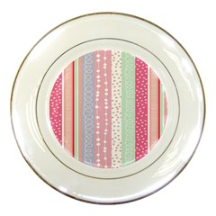 Heart Love Valentine Polka Dot Pink Blue Grey Purple Red Porcelain Plates by Mariart