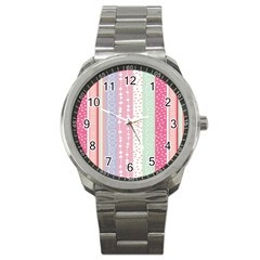 Heart Love Valentine Polka Dot Pink Blue Grey Purple Red Sport Metal Watch by Mariart