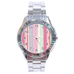 Heart Love Valentine Polka Dot Pink Blue Grey Purple Red Stainless Steel Analogue Watch by Mariart