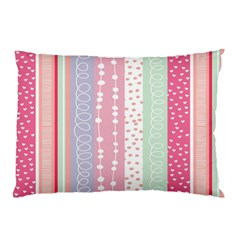 Heart Love Valentine Polka Dot Pink Blue Grey Purple Red Pillow Case (two Sides) by Mariart