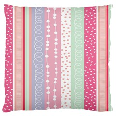 Heart Love Valentine Polka Dot Pink Blue Grey Purple Red Large Cushion Case (two Sides) by Mariart