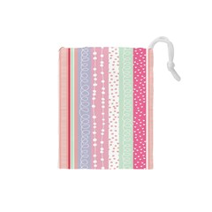 Heart Love Valentine Polka Dot Pink Blue Grey Purple Red Drawstring Pouches (small)  by Mariart