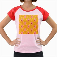 Flower Floral Tulip Leaf Pink Yellow Polka Sot Spot Women s Cap Sleeve T Shirt by Mariart