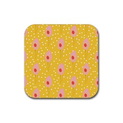 Flower Floral Tulip Leaf Pink Yellow Polka Sot Spot Rubber Square Coaster (4 Pack)  by Mariart