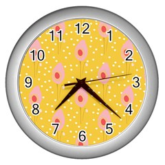 Flower Floral Tulip Leaf Pink Yellow Polka Sot Spot Wall Clocks (silver)  by Mariart