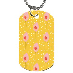 Flower Floral Tulip Leaf Pink Yellow Polka Sot Spot Dog Tag (one Side) by Mariart