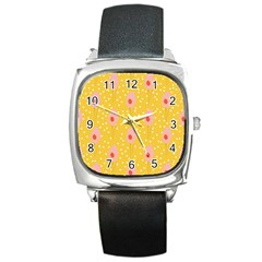 Flower Floral Tulip Leaf Pink Yellow Polka Sot Spot Square Metal Watch by Mariart