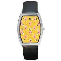 Flower Floral Tulip Leaf Pink Yellow Polka Sot Spot Barrel Style Metal Watch by Mariart