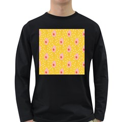 Flower Floral Tulip Leaf Pink Yellow Polka Sot Spot Long Sleeve Dark T Shirts by Mariart