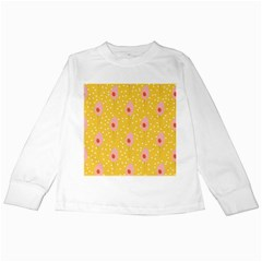 Flower Floral Tulip Leaf Pink Yellow Polka Sot Spot Kids Long Sleeve T Shirts by Mariart