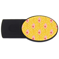 Flower Floral Tulip Leaf Pink Yellow Polka Sot Spot Usb Flash Drive Oval (4 Gb) by Mariart