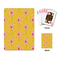 Flower Floral Tulip Leaf Pink Yellow Polka Sot Spot Playing Card by Mariart