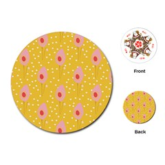 Flower Floral Tulip Leaf Pink Yellow Polka Sot Spot Playing Cards (round)  by Mariart