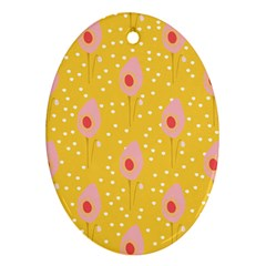Flower Floral Tulip Leaf Pink Yellow Polka Sot Spot Oval Ornament (two Sides) by Mariart