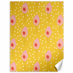 Flower Floral Tulip Leaf Pink Yellow Polka Sot Spot Canvas 36  X 48   by Mariart