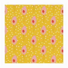 Flower Floral Tulip Leaf Pink Yellow Polka Sot Spot Medium Glasses Cloth by Mariart